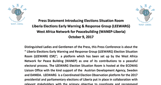 Press statement introducing elections situation room liberia press statement introducing elections situation room liberia elections early warning response group leewarg west africa network for peacebuilding thecheapjerseys Images